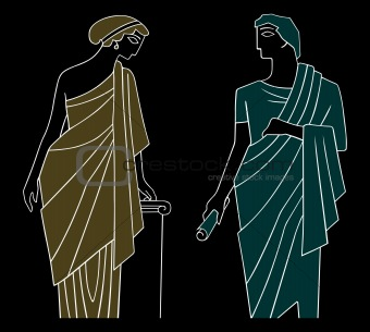 Ancient greek man and woman