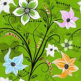 Seamless green floral wallpaper