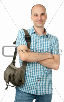 happy man with bag