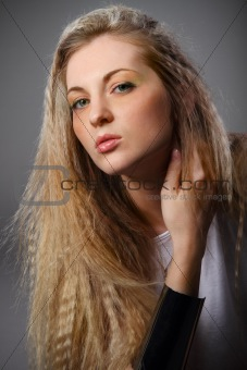 Beautiful blond girl with bright make up