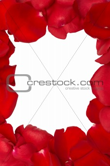 Frame from isolated red rose petals