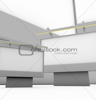 composition with 3d billboards on white background