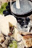 Cheese, grape and wine