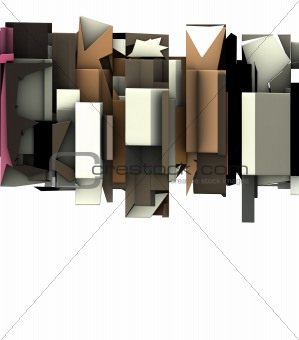3d render of abstract graffiti floating sculpture