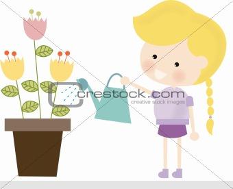Blonde Girl Watering Flowers