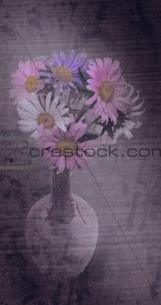 Beautiful bouquet of asters in vase. Grunge styled.