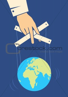 Hand controls the Earth