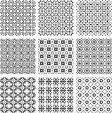 Set of monochrome geometrical patterns background texture