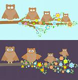 Family of owls sitting on a branch. Two variations