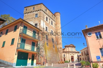 Ancient castle and small plaza in Roddi, Italy.