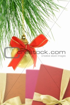 Christmas bauble and gift boxes