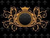 retro frame with heraldic crown