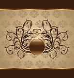 gold floral packing, design element
