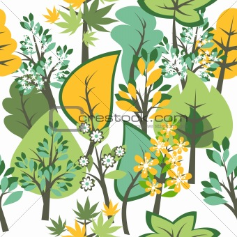 Seamless spring pattern with blossoming trees