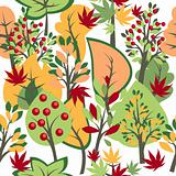 Seamless autumn pattern with  trees