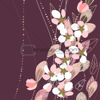 Greeting card with blossomy apple branches