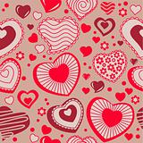 Seamless background with different hearts