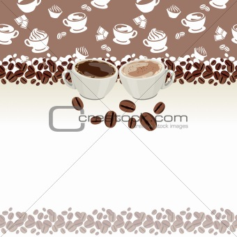 Greeting card with two cups of coffee