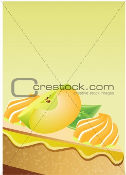 Greeting card with apple pie