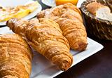 fresh croissant on table ,Delicious!