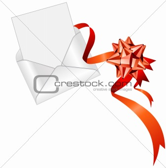 Blank open envelope with red silk ribbon
