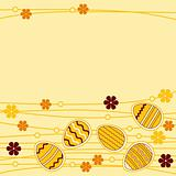 Yellow greeting card wirh easter eggs