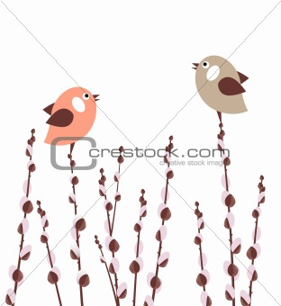 Small birds on pussy willow branches