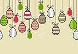 Seamless easter pattern with hanging eggs