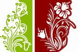Two  modern floral design elements