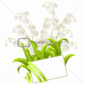 Blank visitcard with lilies of the valley