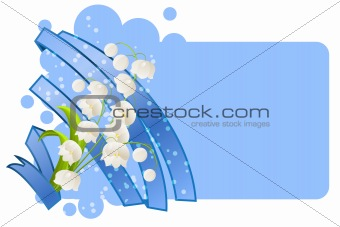 Blank frame with lilies of the valley