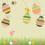 Painted easter eggs and birds
