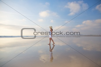 reflected woman at Castilnovo Beach