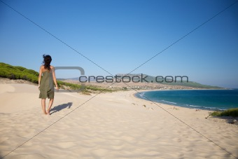walking over Bolonia beach