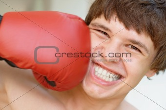 Boxer receiving a punch