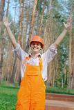 Smiling young worker with hand up