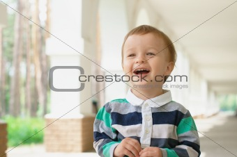 Smiling baby outdoors