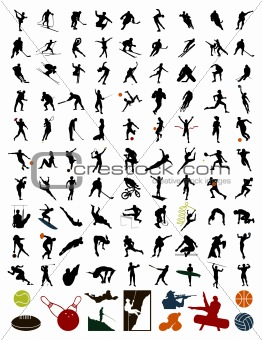 Collection of silhouettes of sportsmen