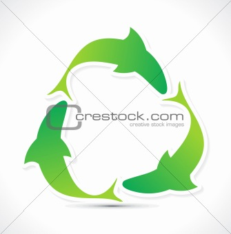 abstract green eco  fish recycle icon