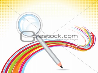 abstract magnifier with pencil background