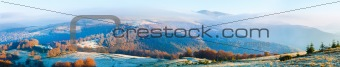 Autumn misty morning mountain panorama
