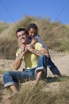 Man & Girl, Happy Father and Daughter Playing At Beach