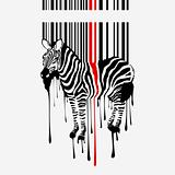 abstract vector zebra silhouette with smudges barcode