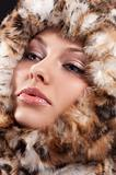 close up of woman fur around the face