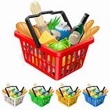 Shopping basket with foods.