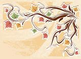 vector vintage autumn leaves background