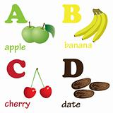 Alphabet letters A-D with fruits.