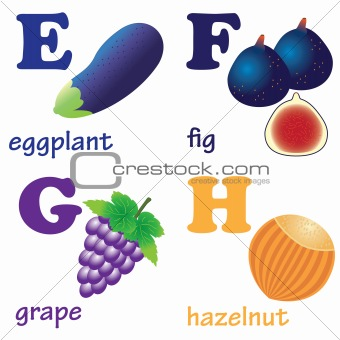 Alphabet letters E-H with fruits.
