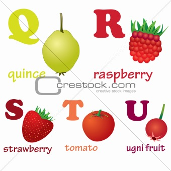 Alphabet letters Q-U with fruits.