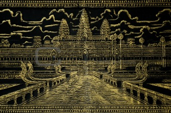 painted image of angkor wat in cambodia